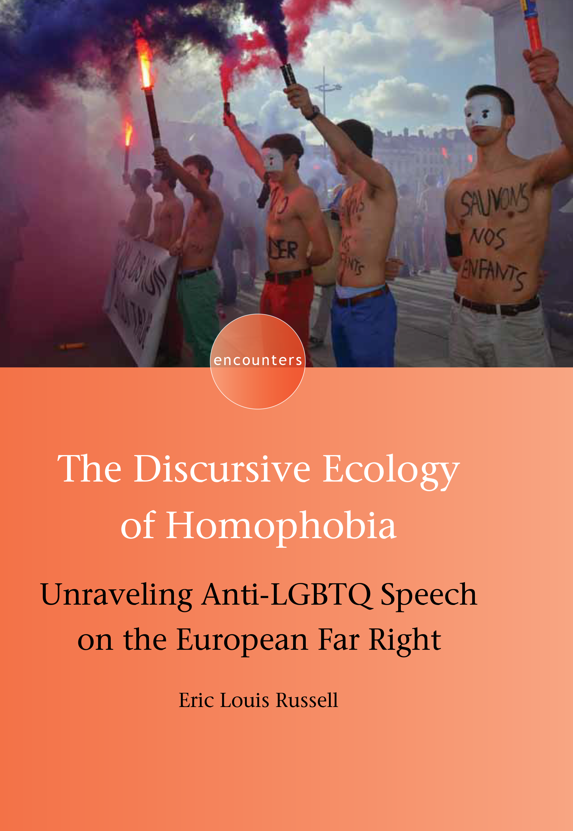 Cover of The Discursive Ecology of Homophobia features masked protesters Les Hommen