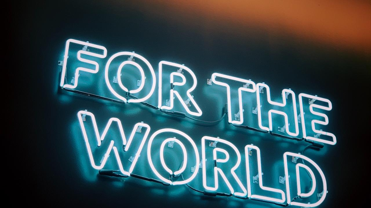 letters for the world in fluorescent
