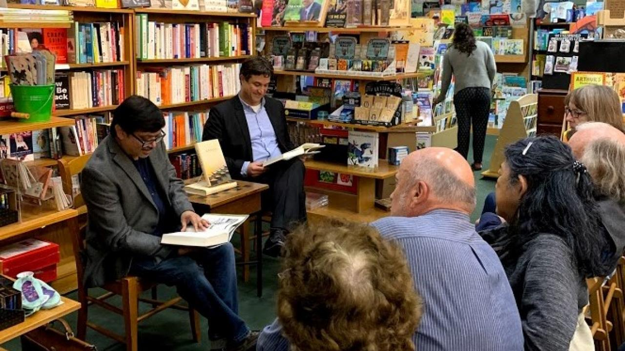 Sudipta Sen and Jaimey Fisher at the Avid Reader