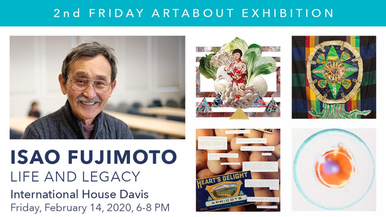 International House ArtAbout Banner with photos of Isao Fujimoto and four artworks
