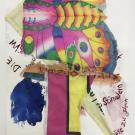 "Joe Fyfe, ""Untitled,"" work on paper, 28 x 22 in. approx. found kite, fabric, paper, watercolor, gouache."