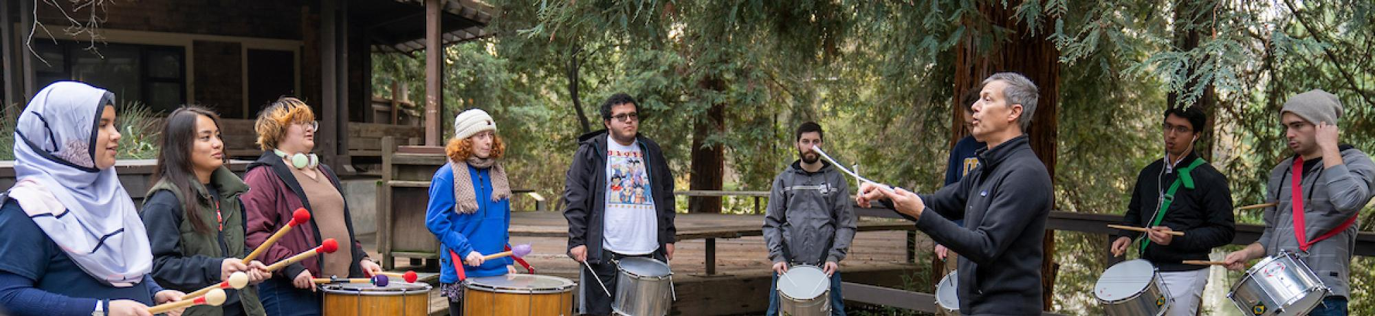 Samba drumming class on Wyatt deck in the UC Davis Arboretum on January 10, 2019.